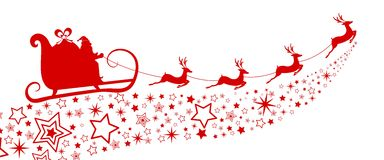 Red Silhouette. Santa claus flying with reindeer sleigh on star. Royalty Free Stock Photos