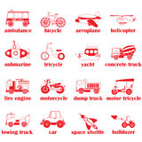 Red silhouette and shape icons of vehicle. Types in vector style Stock Images