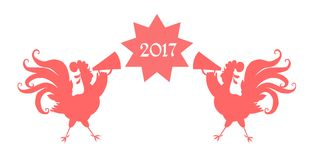 Red silhouettes of roosters with speakers and text 2017. Vector illustration with chinese symbol of 2017 year Stock Photos