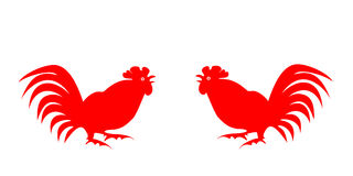 Red silhouettes of roosters on a white background. Red silhouettes fighting on a white background. Symbol of Chinese horoscope and folklore personage. Vector stock illustration
