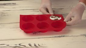 Red silicone cooking mold. stock video footage