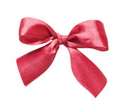 Red silk bow. Red silk gift bow isolated on a white background stock photos