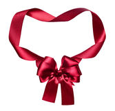 Red silk bow and ribbon decoration object on white as frame Stock Photo