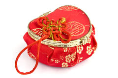 Red silk box isolated Stock Photography