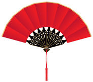 Red Silk Chinese Fan. A red silk Chinese fan with red cord and tassel Stock Photo