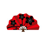 Red silk chinese fan vector illustration. Royalty Free Stock Photo