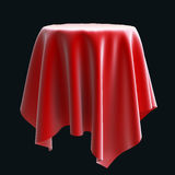 Red silk cloth on the round object or table. Stock Photography