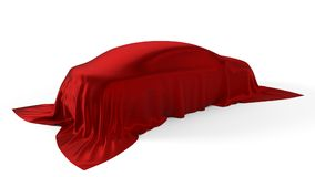 Red silk covered car concept. 3d illustration. Suitable for any smart car,auto pilot or electric car concept Stock Image