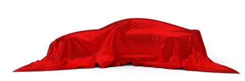 Red silk covered sport car concept. 3d illustration. Suitable for any smart car,auto pilot or electric car concept stock illustration