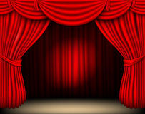 Red silk curtain with light Stock Images