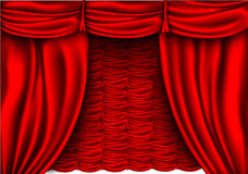 Red silk curtain with shadows Royalty Free Stock Photography