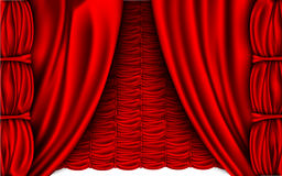 Red silk curtain with shadows Stock Photo