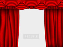 Red silk curtain with shadows and pelmet Stock Photos