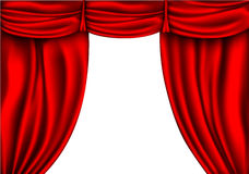 Red silk curtain with shadows and pelmet Stock Images
