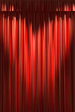 Red silk curtain under two spot lights Stock Photo