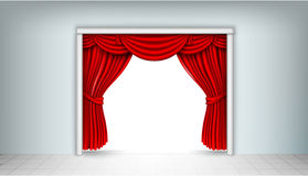 Red silk curtains Royalty Free Stock Photo