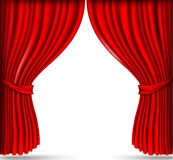 Red silk curtains Royalty Free Stock Photos