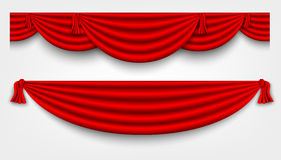 Red silk curtains Stock Photo