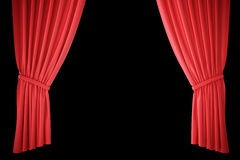 Red silk curtains for theater and cinema spotlit light in the center. 3d rendering. Red silk curtains for theater and cinema spotlit light in the center, 3d Stock Photography