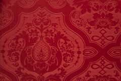 Red silk damask wallcovering Royalty Free Stock Photography