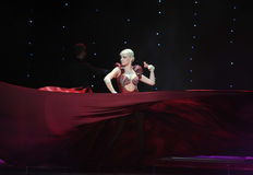 Red silk dance-India memories-the Austria's world Dance Royalty Free Stock Photography