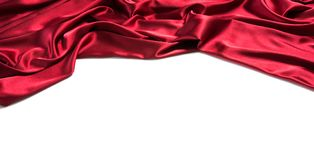 Red silk drapery. Copy space for text. Isolated on white background Stock Images