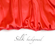 Red silk fabric background Stock Photo