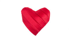 Red silk heart handmade. On isolated background Royalty Free Stock Image