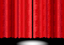Red Silk Patterned Curtain royalty free illustration