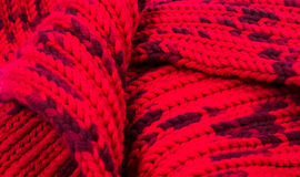 Red silk prom. I knitted a crossing pattern.  Stock Photography
