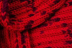 Red silk prom. I knitted a crossing pattern.  Stock Photos