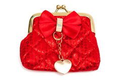 Red silk purse Royalty Free Stock Photography