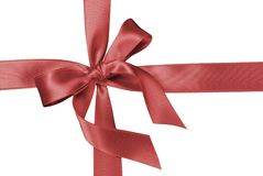 Red silk ribbon. Over black background stock images
