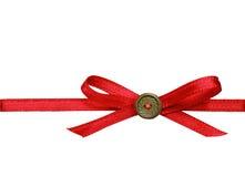 Red silk ribbon bow Stock Photo