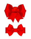 Red silk ribbon bow isolated on white Royalty Free Stock Image