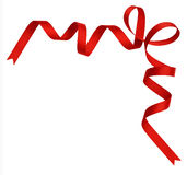Red silk ribbon corner Stock Photo