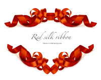 Red silk ribbon on white Royalty Free Stock Image