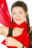 Red silk scarf. Portrait of a girl Royalty Free Stock Image