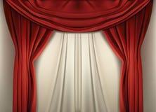 Red curtain over the scene. Vector illustration. vector illustration