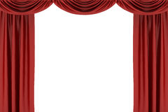 Red silk stage curtain on theater Royalty Free Stock Photos
