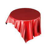 Red silk or textile tablecloth floating in the air isolated. On white background. 3d rendering Royalty Free Stock Photography