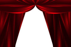Red silk theatre curtains Stock Photo