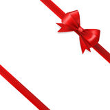 Red silky bow ribbon Royalty Free Stock Photos