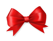 Red silky bow ribbon Royalty Free Stock Image