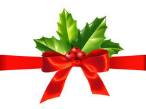 Red Silky Ribbon With Bow And Holly Leaves, Vector Christmas Decoration Royalty Free Stock Image