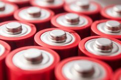 Red and silver aa alkaline batteries group Stock Images