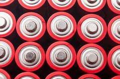 red and silver aa alkaline batteries group Stock Photography