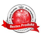 Best product - red and silver award ribbon designed for the German retail market. Red and silver award badge with text in German. Text translation: Best Product stock illustration