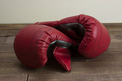 Red and silver boxing gloves Stock Photo