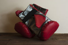Red and silver boxing gloves Stock Photography